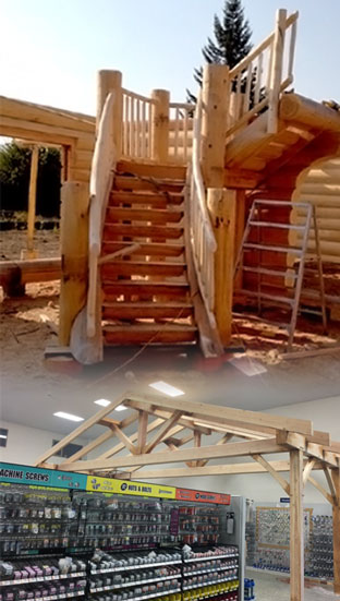 Spiral Staircase products and Timber Frame work by DBD Log Homes