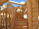 Log Home Curved Stairs